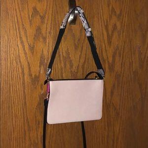 Express cream w/hot pink n snakeskin shoulder bag